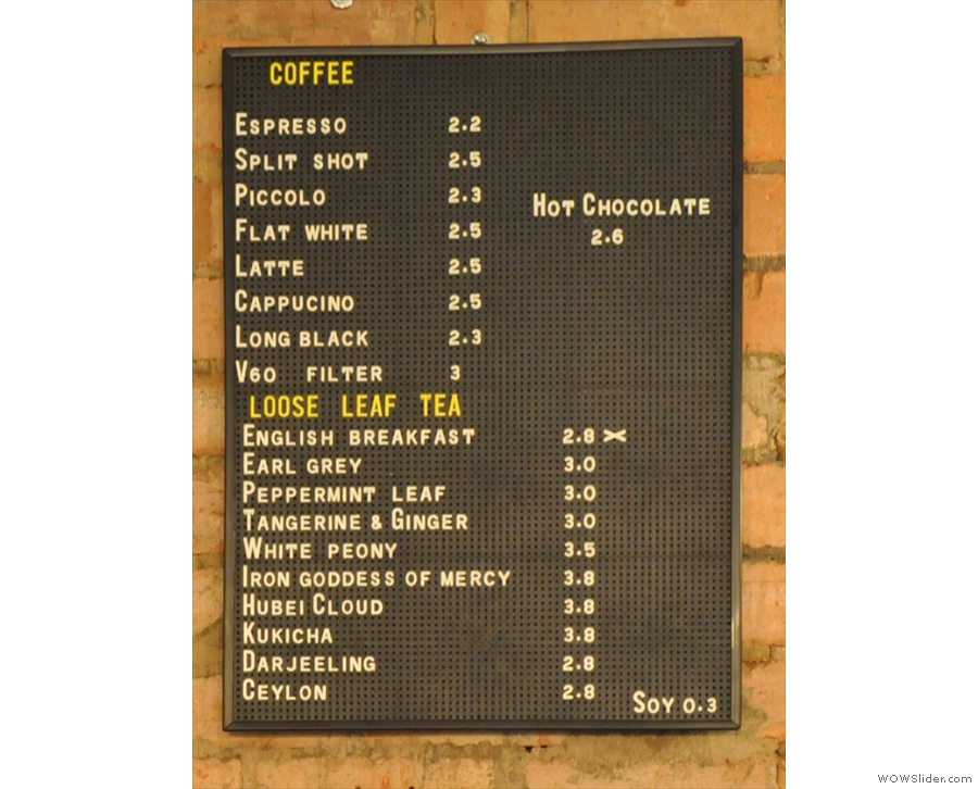 This is the coffee and tea menu...