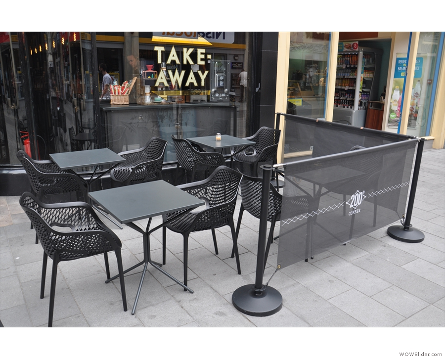 There's outside seating either side of the door on the broad, pedestrianised pavement.