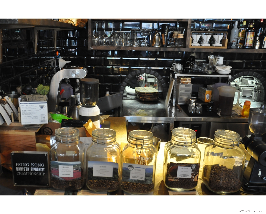 The various choices of beans are on display here in little glass jars.