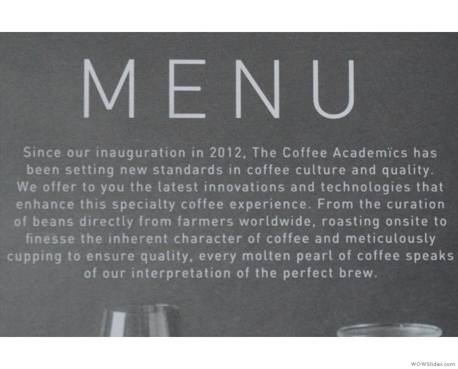 The frontpiece of the menu is worth a read.