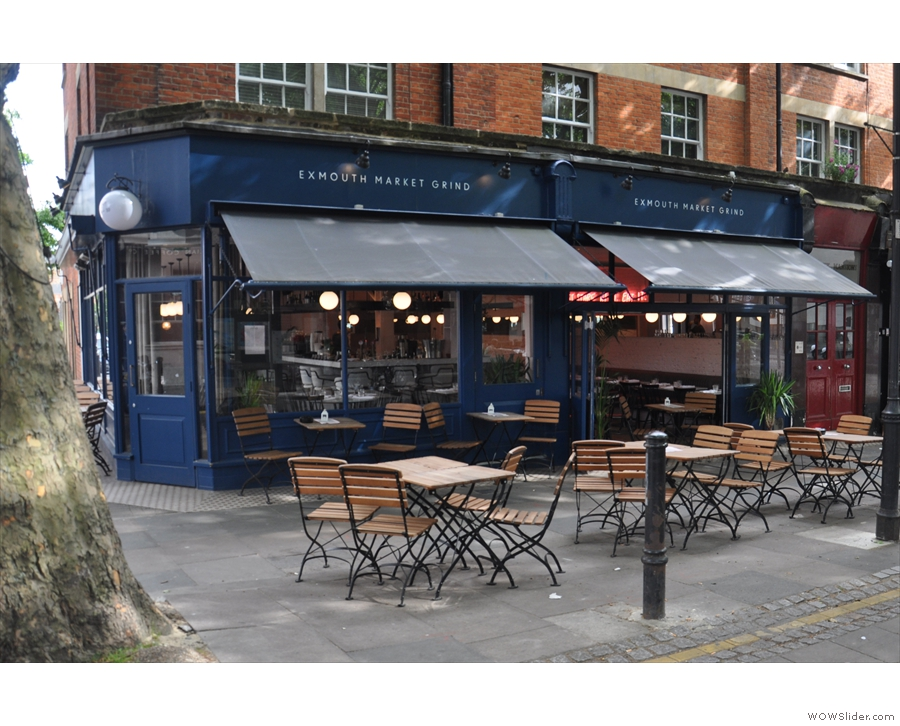 There's plenty of outside seating on Exmouth Market, but what's that to the right?