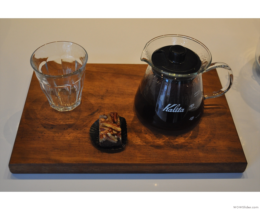 ... which I had through the Kalita Wave, along with a Salted Caramel Pecan Brownie.