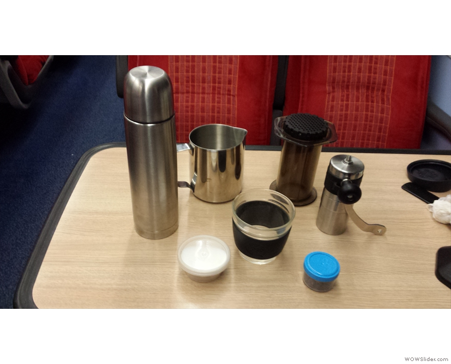 An early attempt at making coffee on the go: on a train to Exeter in January 2015.