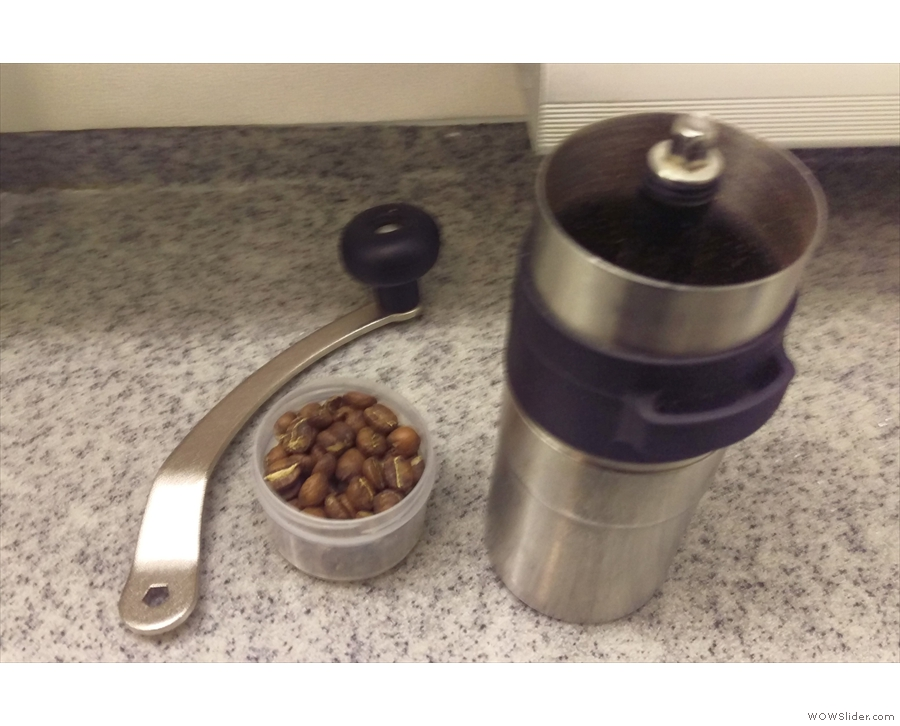 Pre-weighed beans, of course, plus my old ceramic-burr grinder.