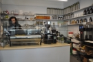 Finally, on the left, behind a perspex screen, is the Strada espresso machine & its grinders.