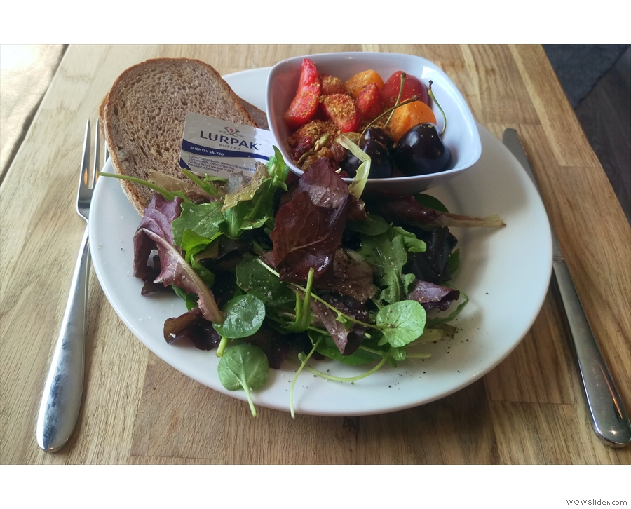 I stayed for lunch: toast, fruit and a salad.