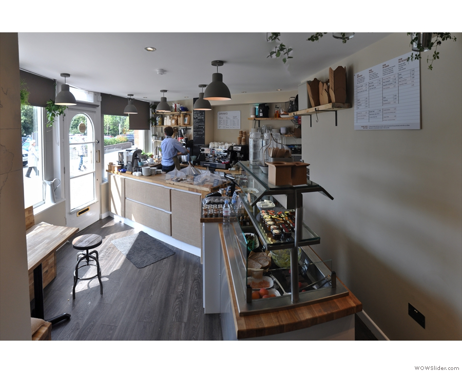 Talking of which, the counter starts at the window, and runs along the left & back walls...