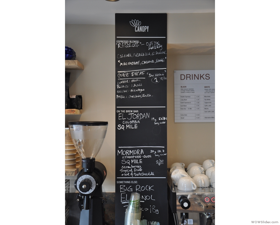 Canopy is a true multi-roaster, with different options shown on the black board.