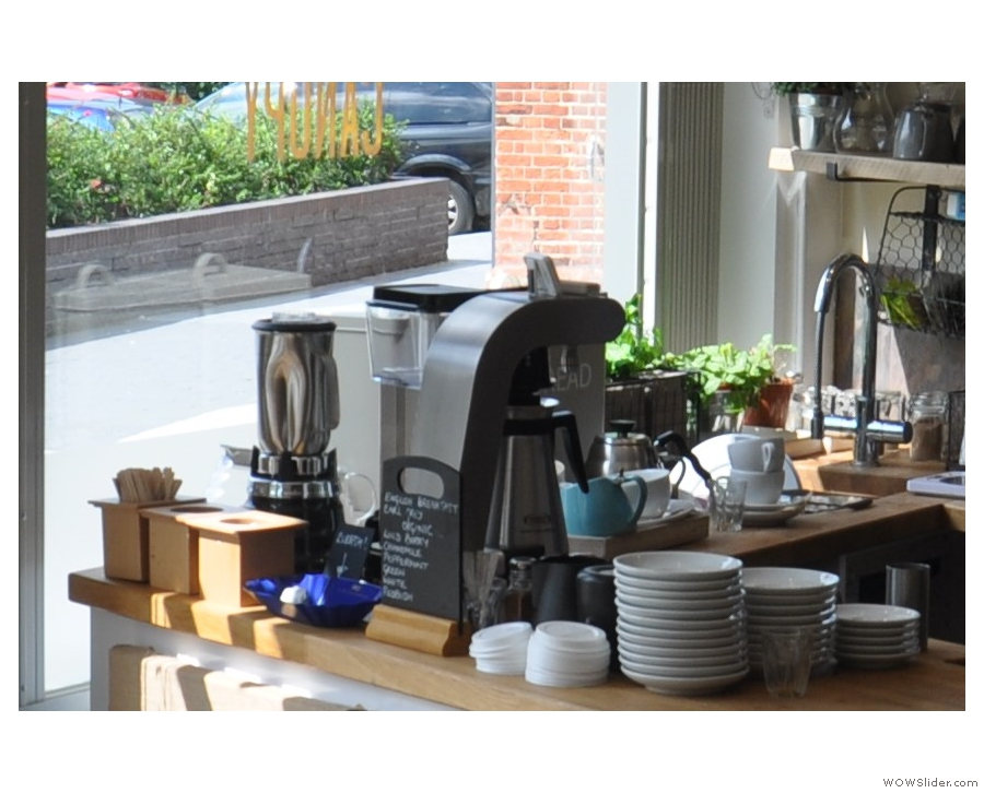 Meanwhile, off to the left is the brew bar, with its Marco Systems Uber boiler.