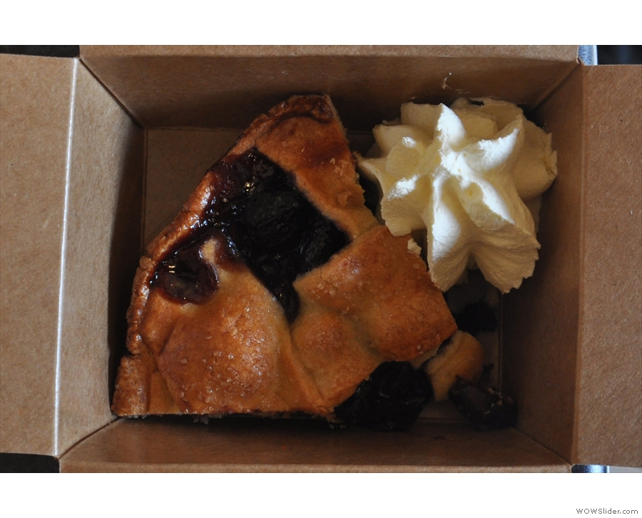 My cherry pie, in a box, with some cream, of course.
