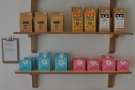 ... followed by shelves of retail bags from a wide cast of roasters.