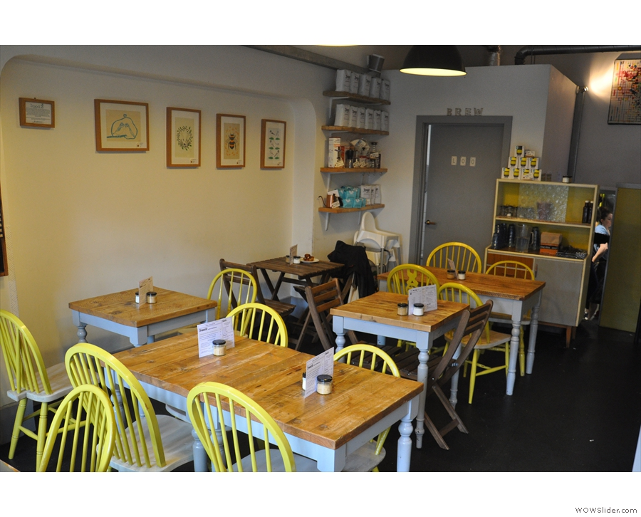 ...with the bulk of the seating on the left. Despite packing the tables in, Brew's often full!
