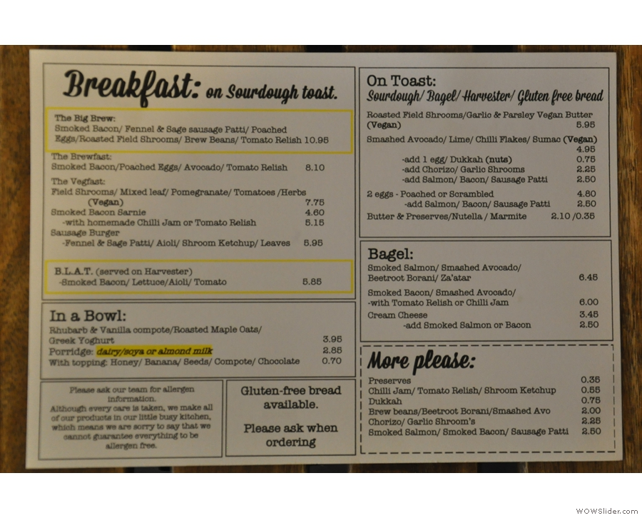 Meanwhile, you'll find extensive food menus on the tables, including breakfast...