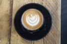 Commendably short, it was served in a glass with some lovely latte art.