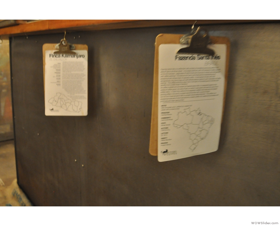Clipboards hang under the counter with even more details for the single-origins.