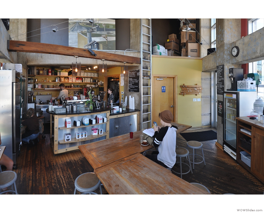 A panoramic view looking back towards the counter...