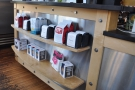 There's a retail shelf right at the front, with beans from the current featured roasters...