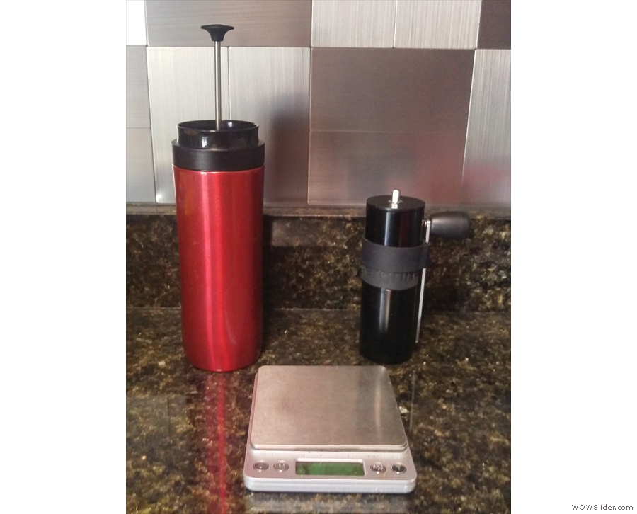 My Aergrind has seen extensive action. Here at my friend's house, with my Travel Press...