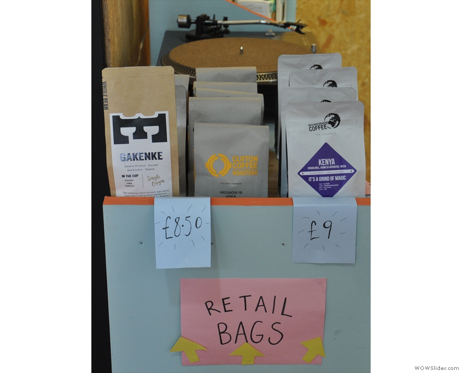 It also doubles as a retail space, selling bags of coffee from various roasters.