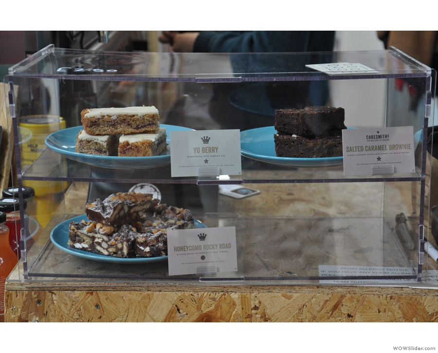 If you're hungry, there's a small selection of cake from old friends Cakesmiths.