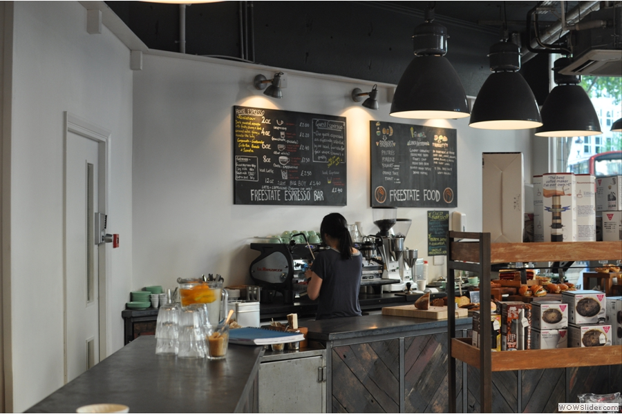 The counter, which dominates as you come in, was also tricky to photograph. Here it is, as seen from the Brew Bar.