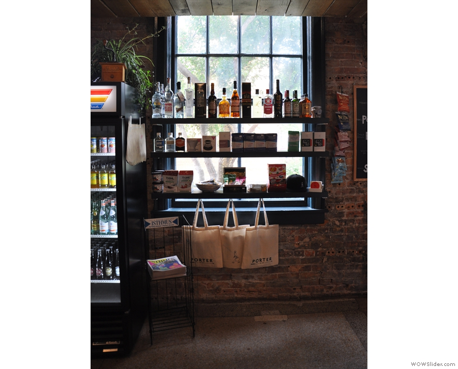 Porter doubles as a delicatessen/grocers, with shelves of produce lining the windows...