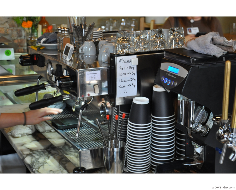 So, to business. The espresso machine and its grinder are at the heart of the operation.