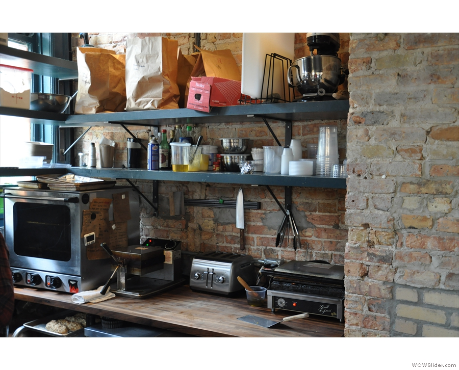 There's a large kitchen/food preparation area back here, including this set-up to the right.