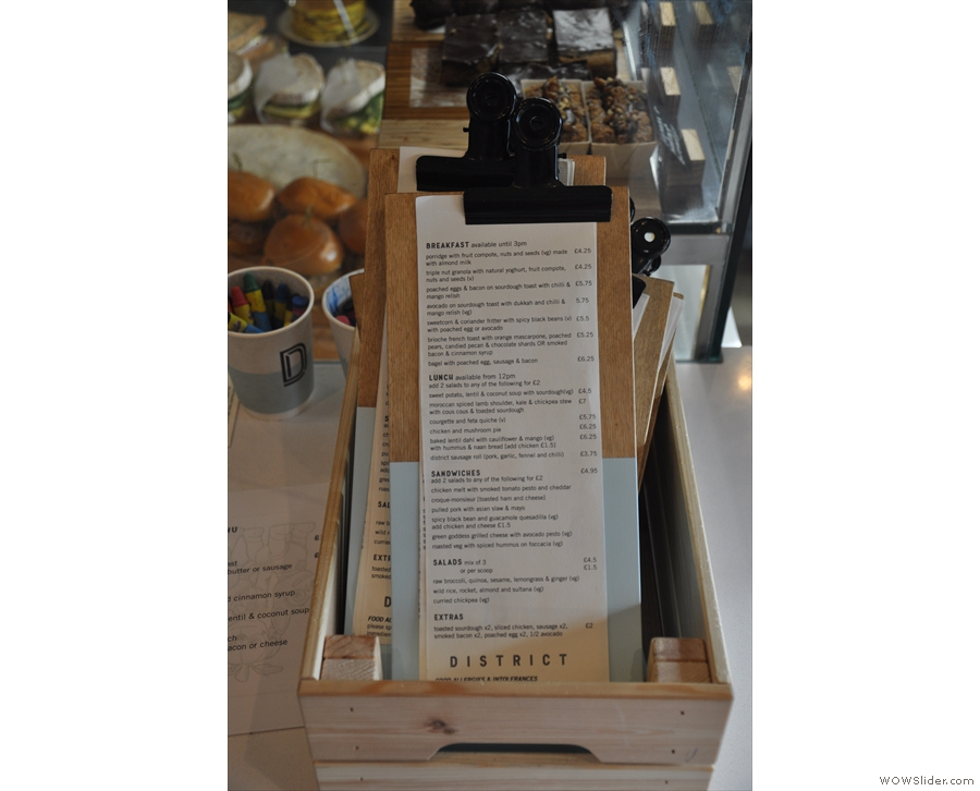 There are menus handily placed near the till for you to take to your table.