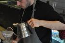 Then comes the main pour. District uses the single-pour technique...