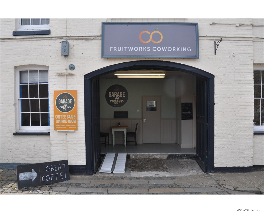 It's Fruitworks Coworking, also home to Garage Coffee. I like the helpful signs!