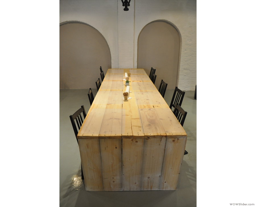 It's dominated by these long, communal tables.