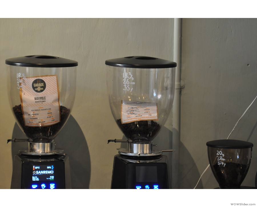... with its three grinders (house-blend, single-origin & decaf) each with its own recipie.