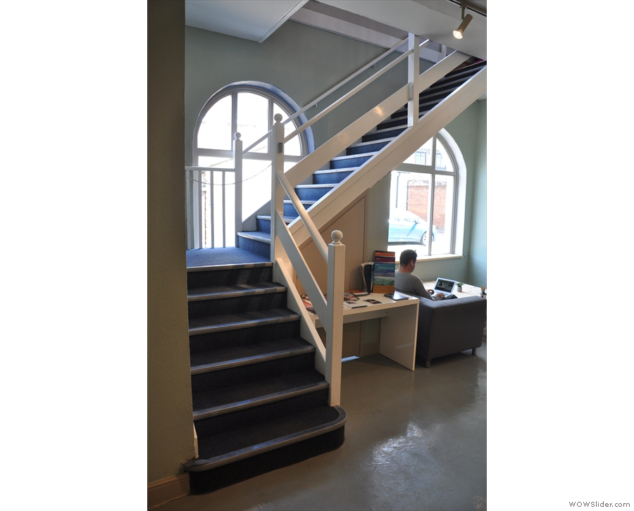 The stairs at the front give access to Fruitworks, but it's off-limits to the public.