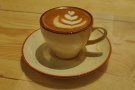 My flat white, made with the single-origin espresso, an Indonesian Wahana Longberry.