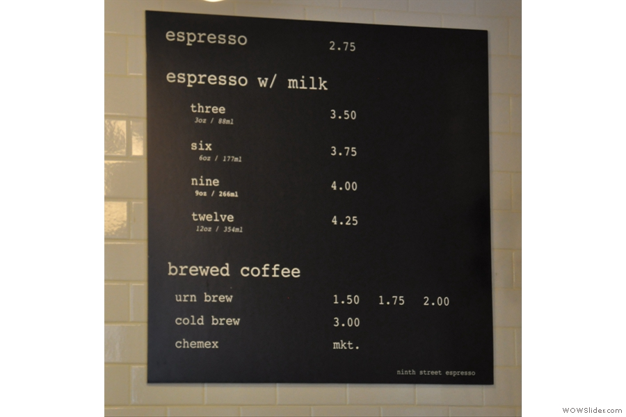 The menu's worth a second look: another offering coffee by size, not name.