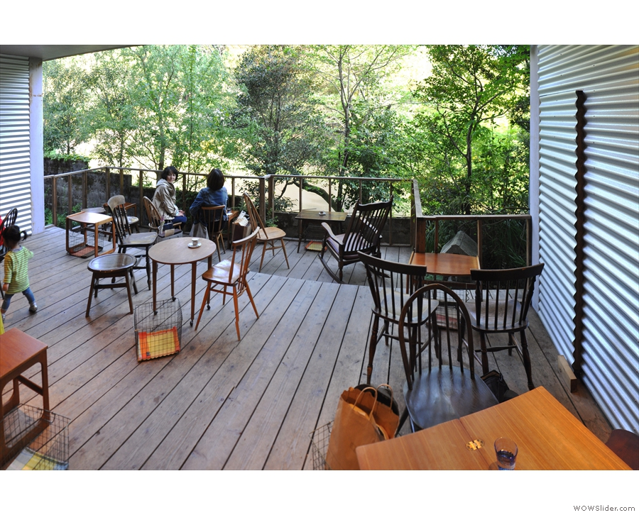 ... which open out onto the most wonderful, sheltered wooden terrace behind Vermillion.