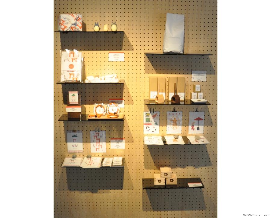 Back inside, Vermillion has two racks of merchandising shelves, selling coffee...