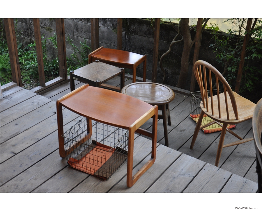 I love the little coffee tables with the baskets (for your things) underneath.