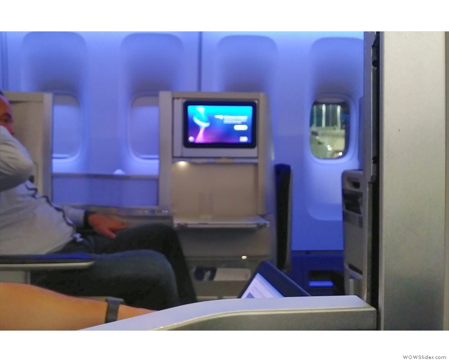 Compared to business class in a 787, there a lot less privacy between the seats.