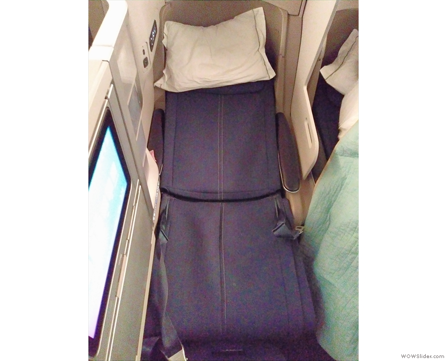 My seat converted into a six-foot long flat bed which was very comfortable.
