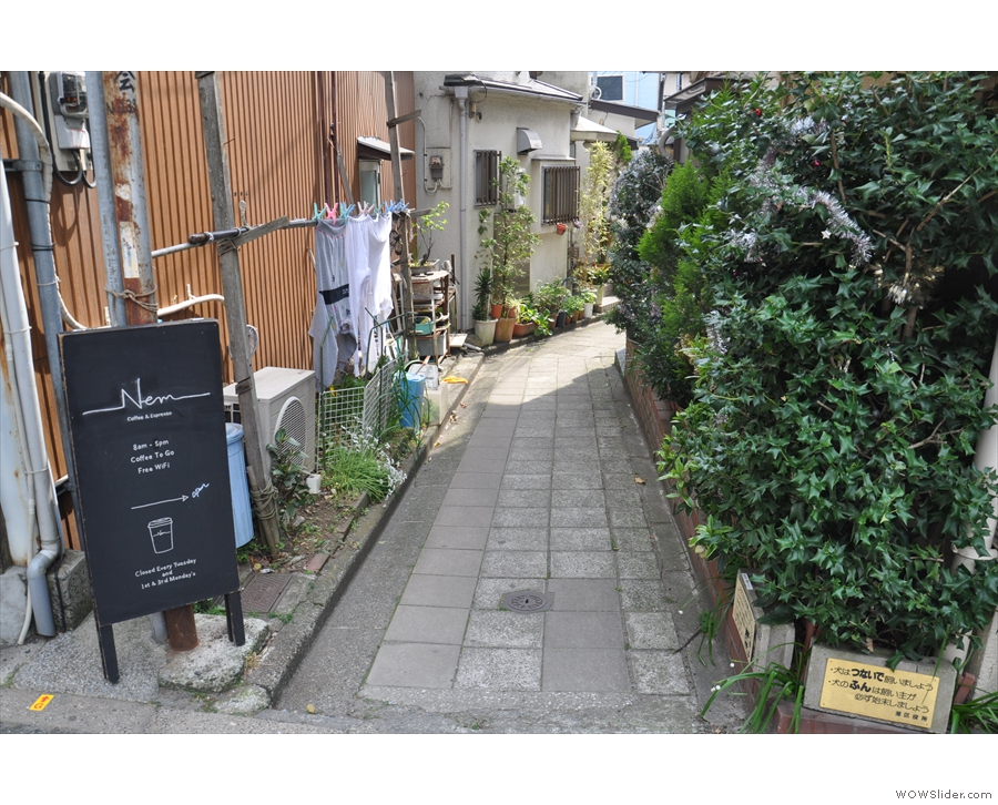 On a quiet road south of the Arisugawa-no-miya Memorial Park in Tokyo is this sign...