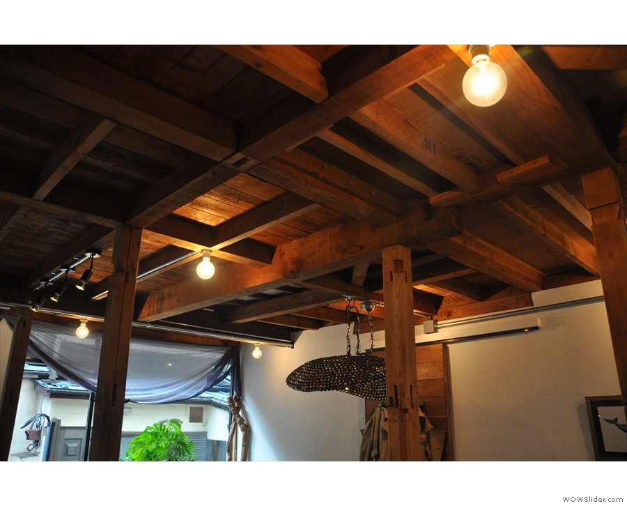 The construction seems to be entirely of wood, with a wonderful wooden ceiling.
