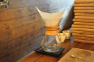 Edwin made me a Chemex of the Ethiopian Aramo. Step one, rinse the filter paper.
