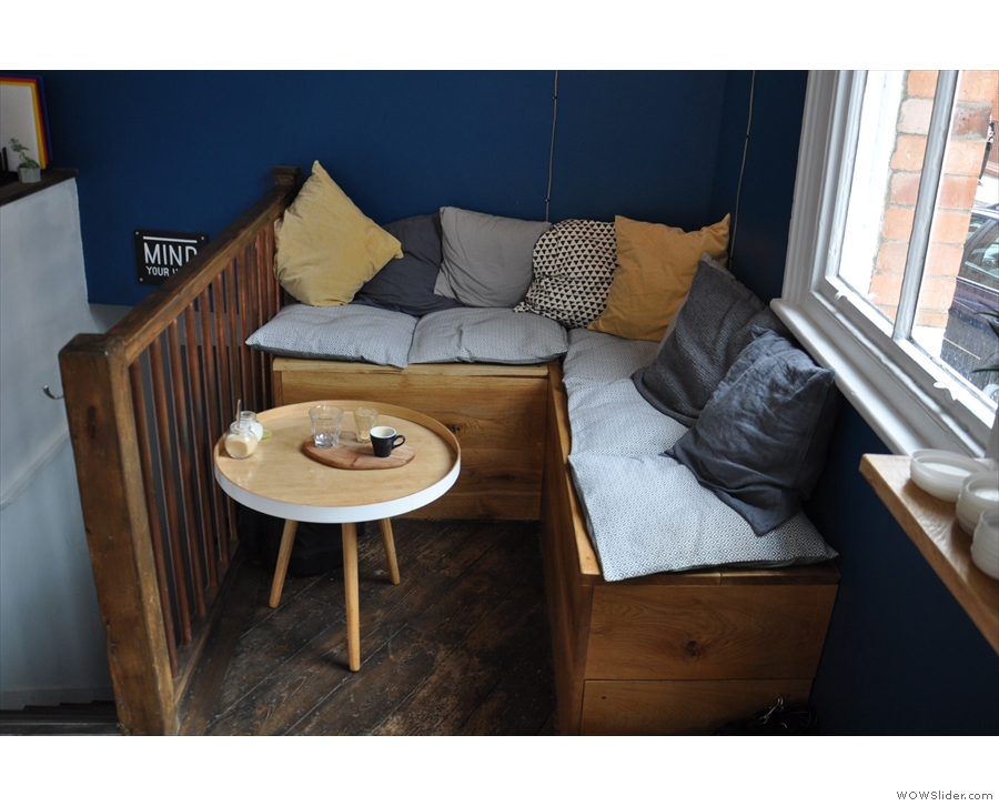 It's this cosy L-shaped bench and its coffee table, which slots in...