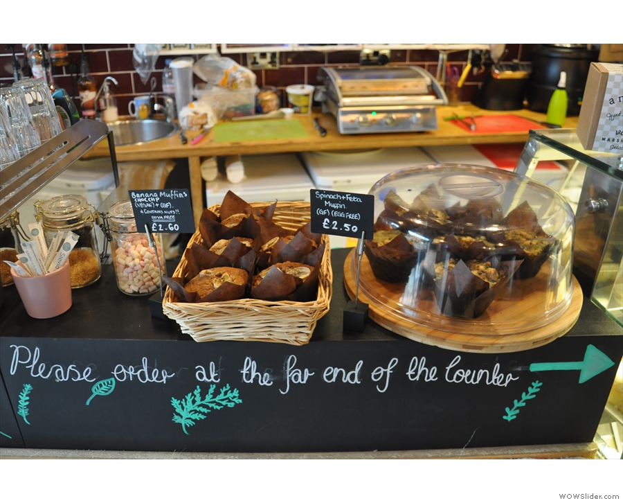 There's cake at the front to tempt you, plus a handy sign, showing you where to go.