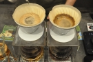 The second V60 is almost done, while the first has filtered through quite a bit.