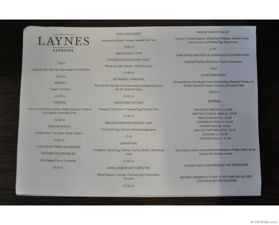 ... Laynes' food offering, as seen on the all-day brunch menu, which is found on the tables.