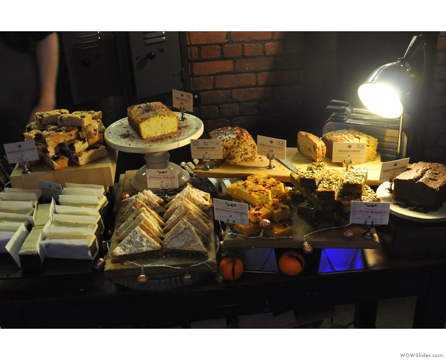 Here's last year's well-stocked array of cakes.