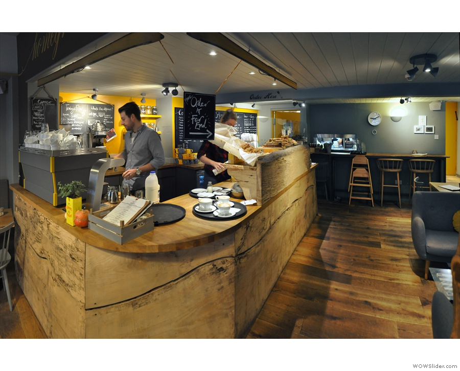 It runs lengthways to the back of the cafe, which is where you'll find the kitchen.